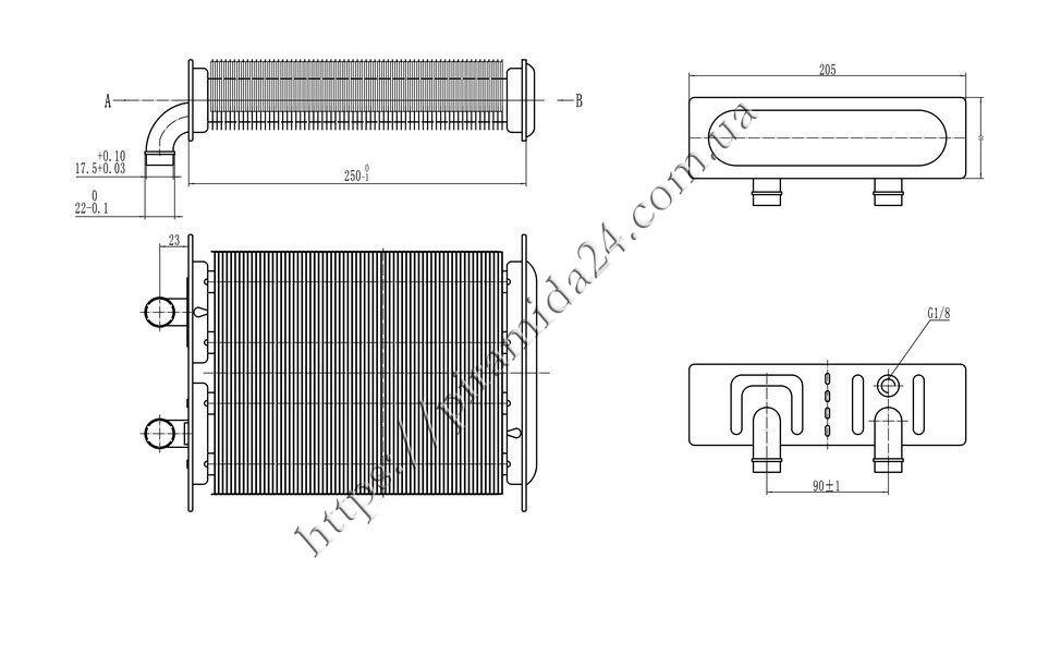 Теплообмінник первинний Beretta City J D 24 CSI дві ручки керування  (20011419 20052578) d0494d3b21fed