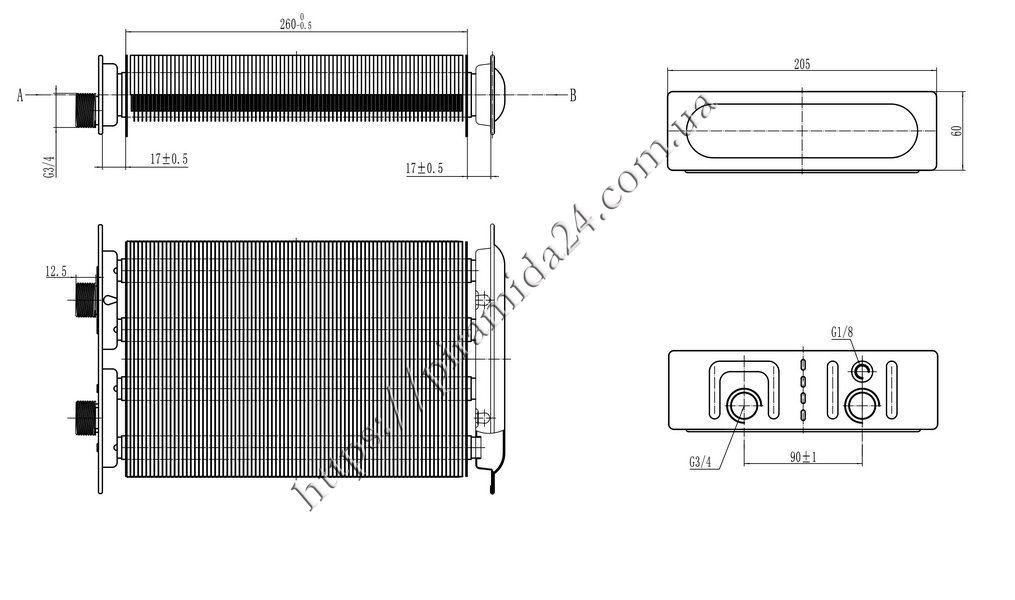 Теплообмінник первинний Beretta City 24 CAI CSI різьба 3 ручки керування  (10029880) bca62350d59a8